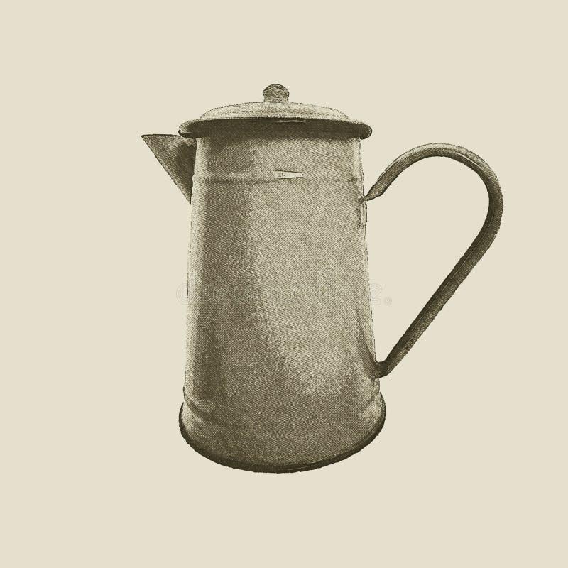 Bouilloire tirée par la main de vintage illustration stock