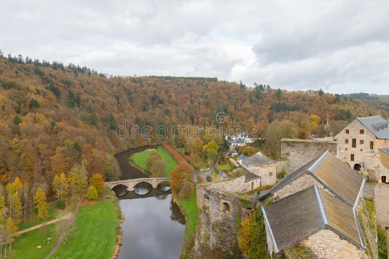 Bouillon Belgium October,29 2017 view from the citadel of Bouillon castle on the Semois river royalty free stock images