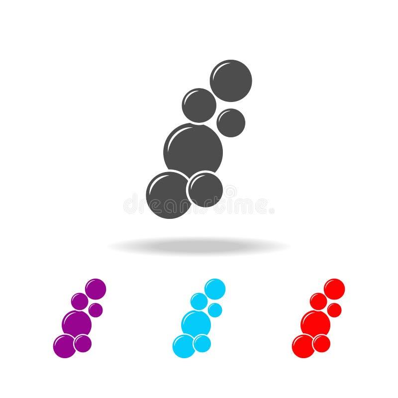 Bouillonne le graphisme Éléments de salle de bains dans les icônes colorées multi Icône de la meilleure qualité de conception gra illustration stock
