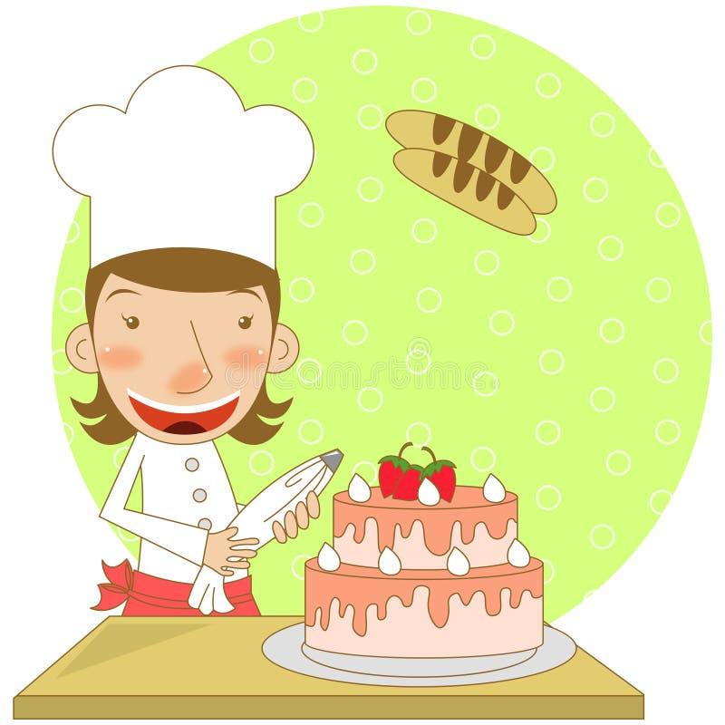 Boulanger de gâteau illustration de vecteur