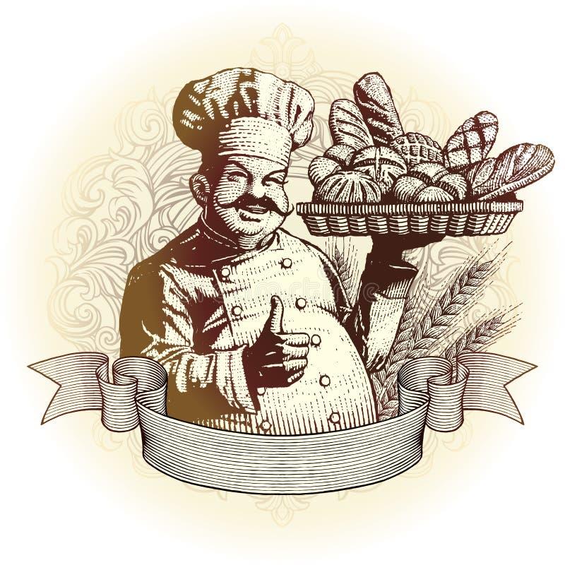 Boulanger de type de gravure sur bois avec du pain illustration de vecteur