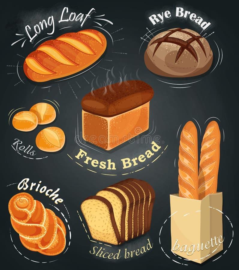 Boulangerie de la publicité sur le tableau Ensemble de produits de boulangerie carte Long pain, pain de seigle, baguette, petits  illustration libre de droits
