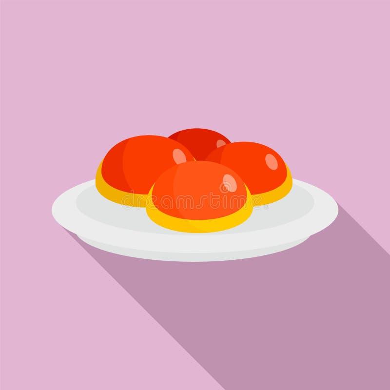 Boulangerie juive douce sur l'icône de plat, style plat illustration stock