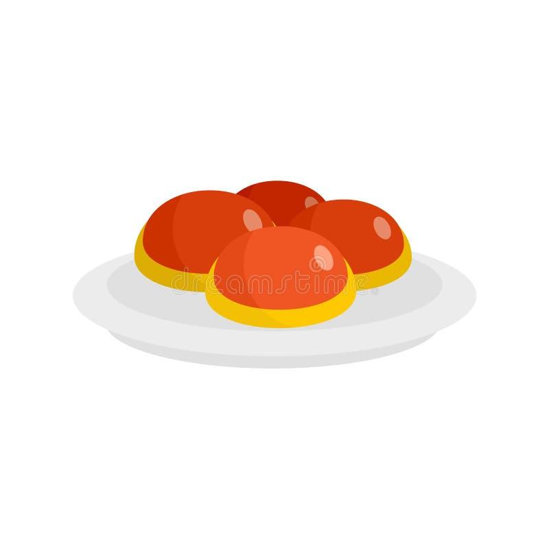 Boulangerie juive douce sur l'icône de plat, style plat illustration de vecteur
