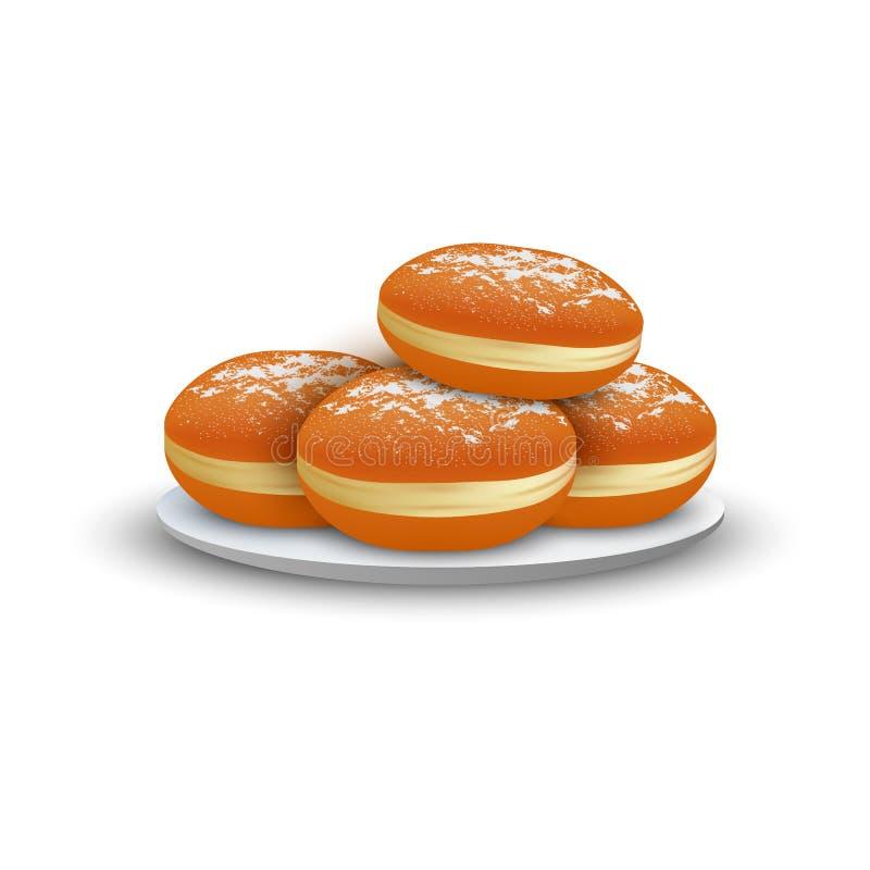 Boulangerie juive sur l'icône de plat, style réaliste illustration libre de droits