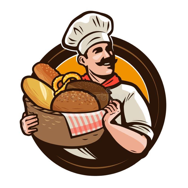 Boulangerie, logo de boulangerie ou label Baker avec un panier en osier de pain fraîchement cuit au four Illustration de vecteur illustration de vecteur