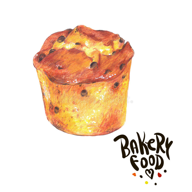 Boulangerie tirée par la main d'isolement sur un fond blanc photos stock