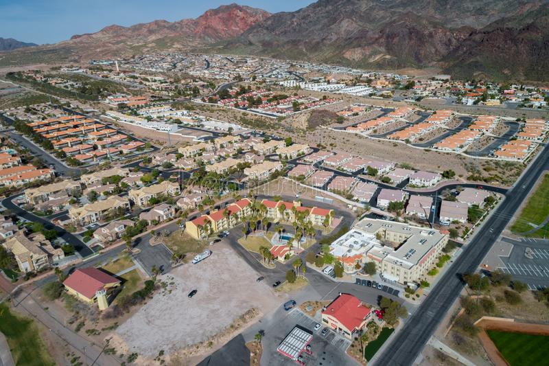 Boulder City in Nevada, United States. Boulder City is one of only two cities in Nevada that prohibits gambling stock photography