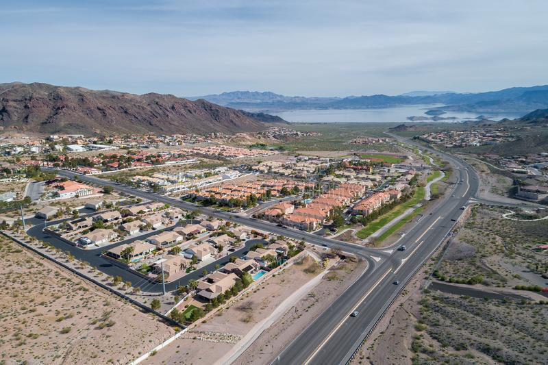 Boulder City in Nevada, United States. Boulder City is one of only two cities in Nevada that prohibits gambling stock photo