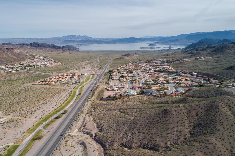 Boulder City in Nevada, United States. Boulder City is one of only two cities in Nevada that prohibits gambling stock photos