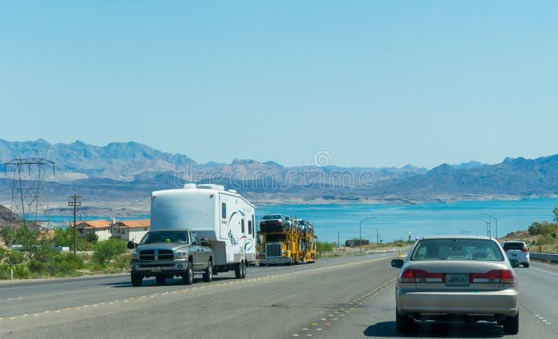 Journey to Hoover Dam. Highway in the desert of Nevada stock image