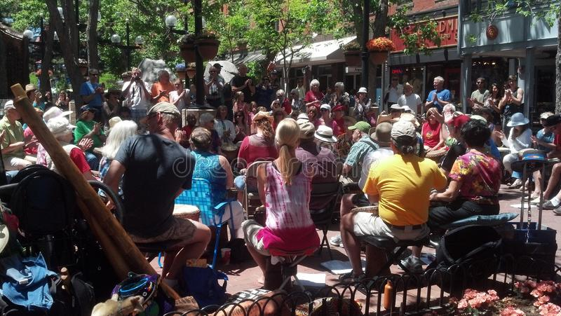 Boulder CO Drum Circle. Drum Circle on the Pearl Street Mall in Boulder CO royalty free stock photography