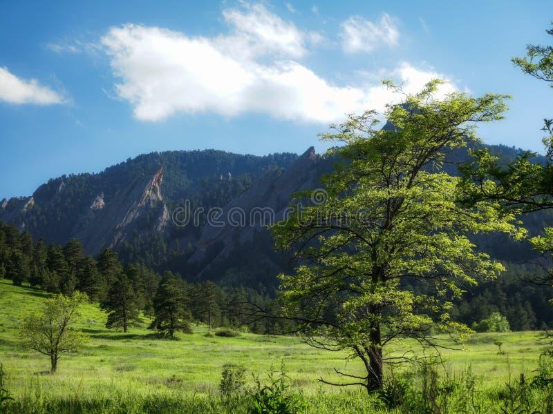 Boulder Colorado Flatirons Summer Evening stock photos