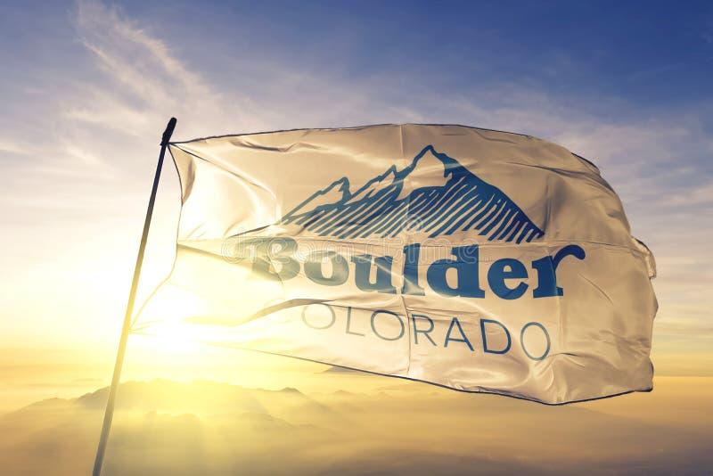 Boulder of Colorado of United States flag waving on the top. Boulder of Colorado of United States flag waving stock photo