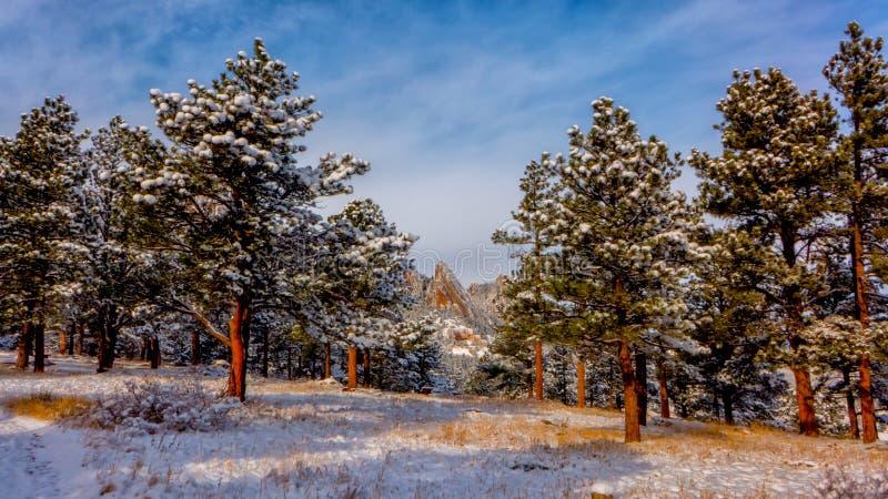 Boulder Flatirons in Snow stock image