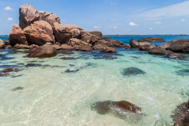 Boulders around the coast of Pigeon Island near Nilaveli village in Sri Lan. Ka royalty free stock photos