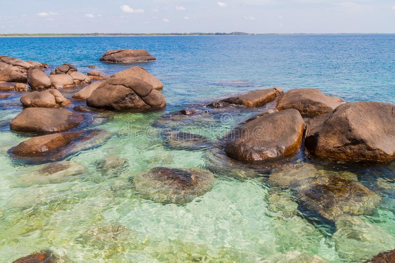Boulders around the coast of Pigeon Island near Nilaveli village in Sri Lan. Ka stock photos