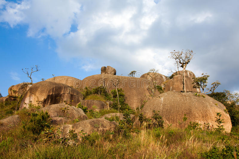 Boulders on mountain summit. In Brazil stock photos