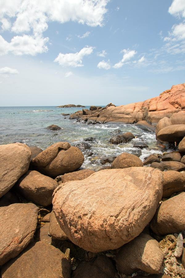 Boulders on Pigeon Island National Park just off the shore of Nilaveli beach in Trincomalee Sri Lanka. Asia royalty free stock images