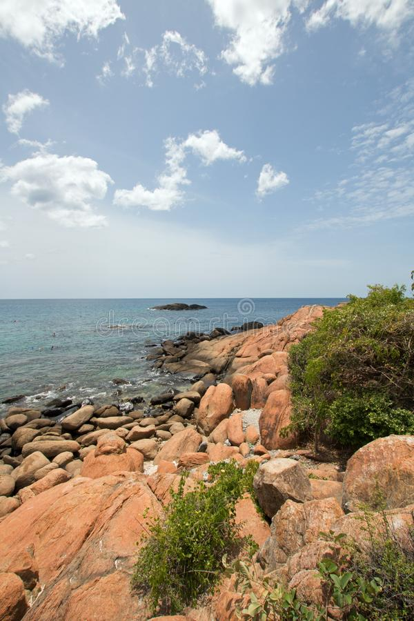 Boulders on Pigeon Island National Park just off the shore of Nilaveli beach in Trincomalee Sri Lanka. Asia stock image