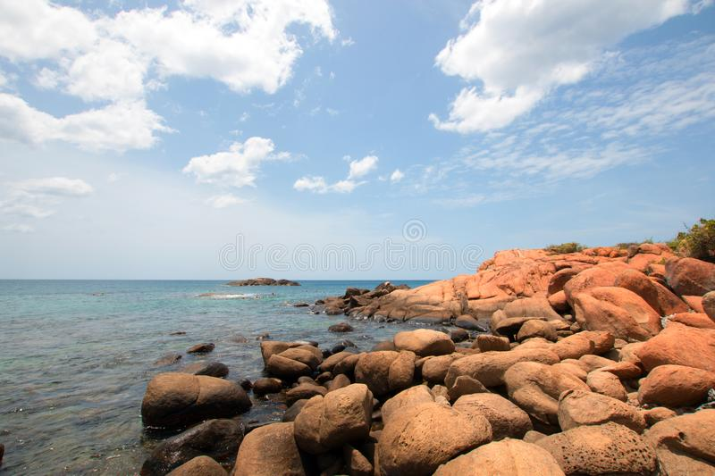 Boulders on Pigeon Island National Park just off the shore of Nilaveli beach in Trincomalee Sri Lanka. Asia royalty free stock photos
