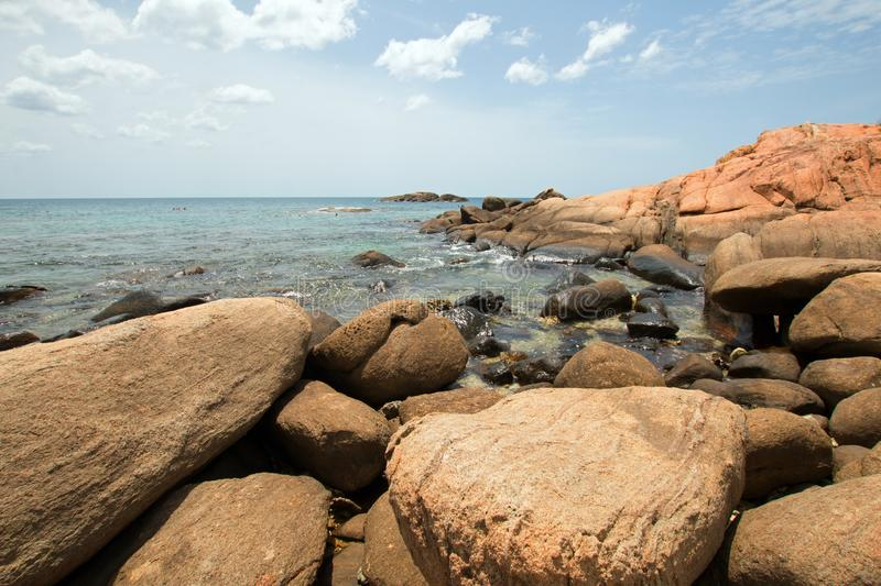 Boulders on Pigeon Island National Park just off the shore of Nilaveli beach in Trincomalee Sri Lanka. Asia stock photos