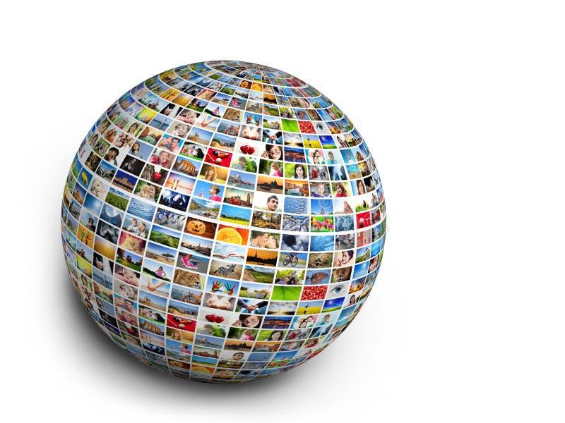 Boule, élément de conception de globe fait de photos des personnes, animaux et endroits illustration stock