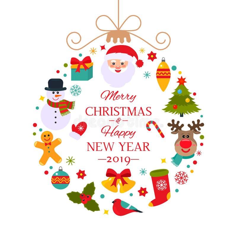 Boule abstraite de Noël avec des symboles de Noël illustration libre de droits