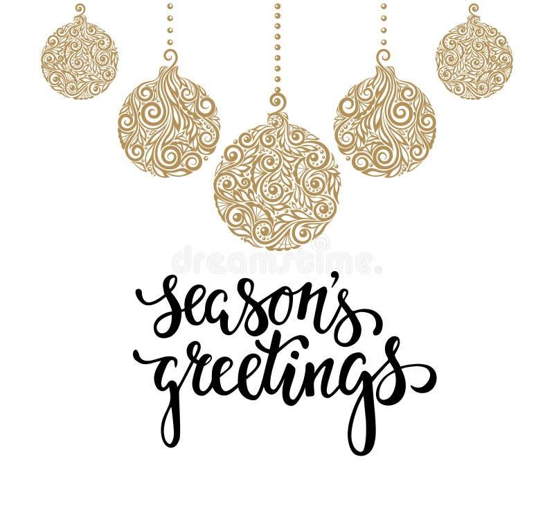 Boule accrochante de Noël avec un remous floral Calligraphie tirée par la main illustration de vecteur