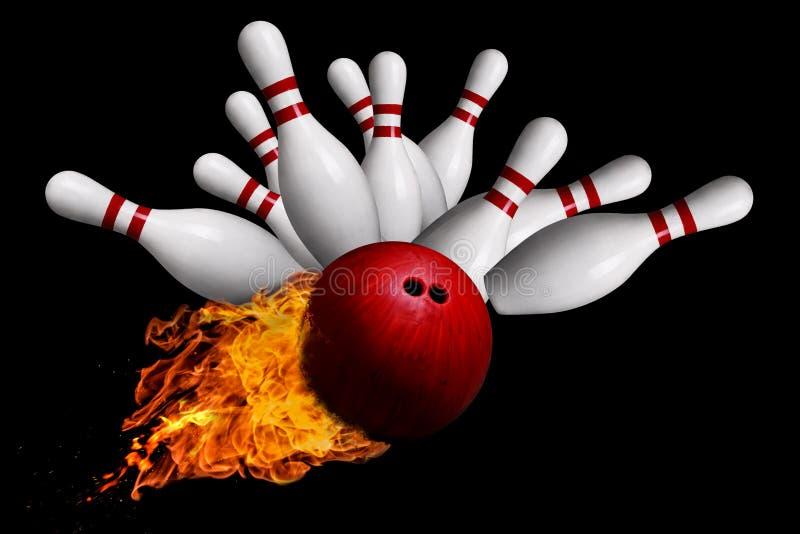 Boule ardente frappant des goupilles dans la grève de bowling d'isolement sur le dos de noir illustration de vecteur