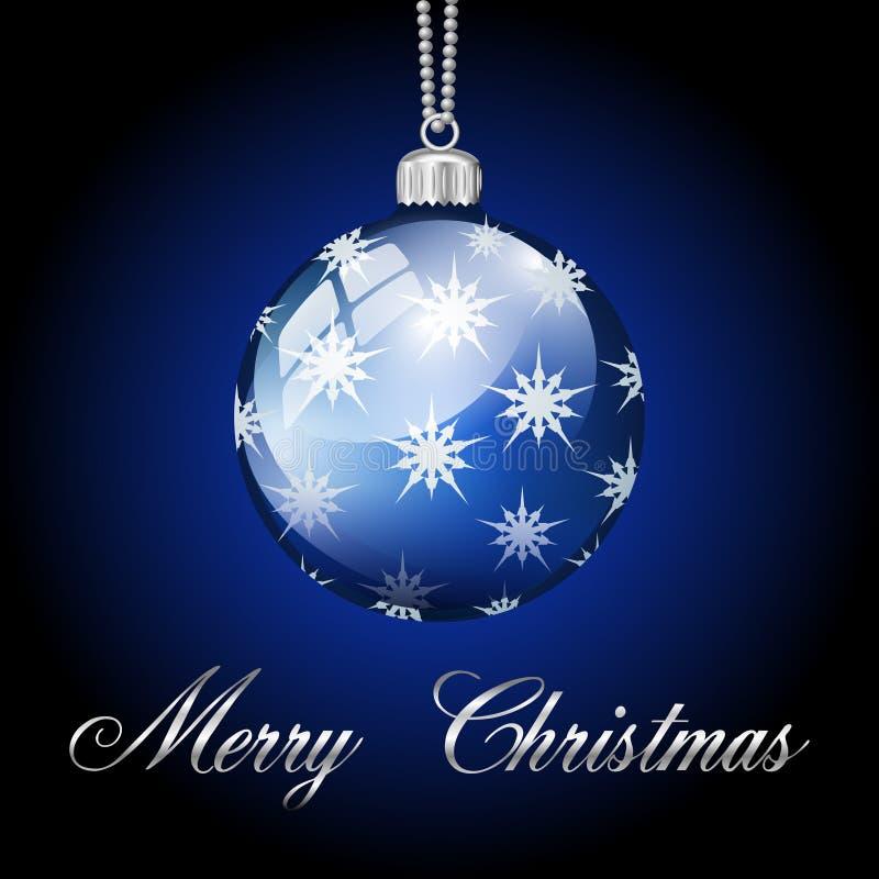 Boule argentée bleue de Joyeux Noël illustration de vecteur