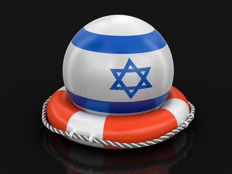 Boule avec le drapeau israélien sur la bouée de sauvetage illustration stock
