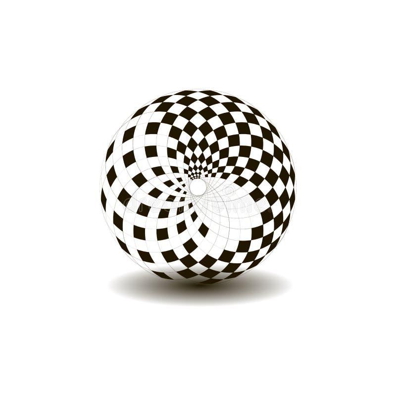 Boule avec le modèle d'échecs, couleur noire et blanche illustration stock