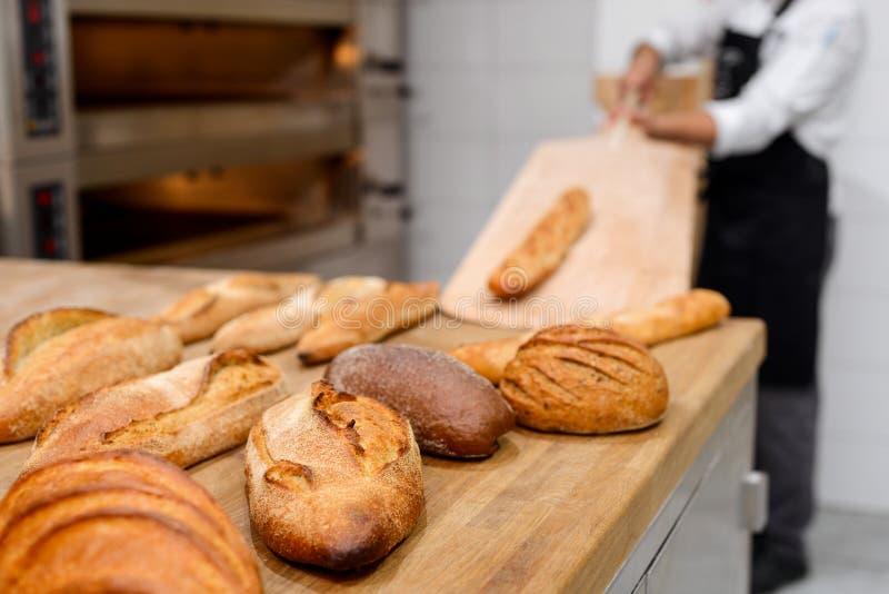 Boule, baguette, battard, brown bread stock image