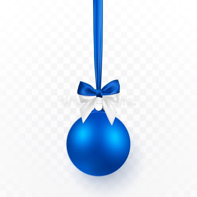 Boule bleue de Noël avec l'arc bleu Boule en verre de Noël sur le fond transparent Calibre de décoration de vacances Illustration illustration stock