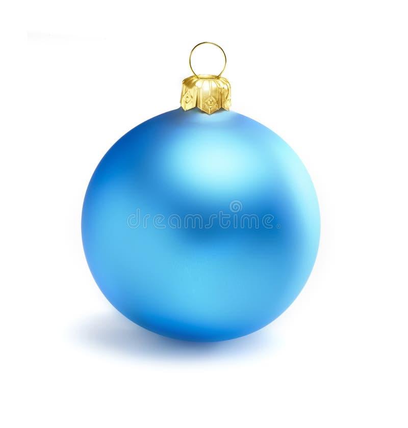 Boule bleue de Noël sur un fond blanc photo libre de droits