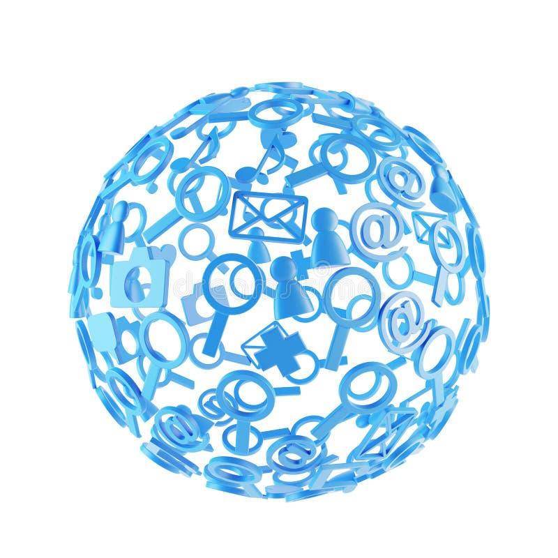 Boule bleue faite d'icônes sociales illustration de vecteur