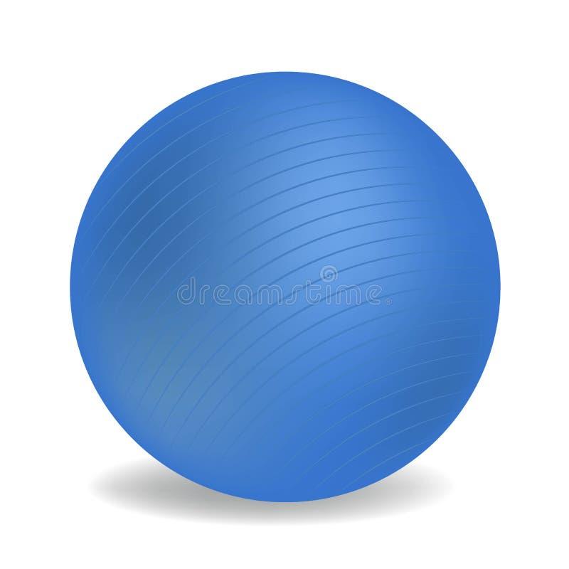 Boule bleue réaliste de la forme physique 3D avec l'ombre d'isolement sur le fond blanc illustration libre de droits