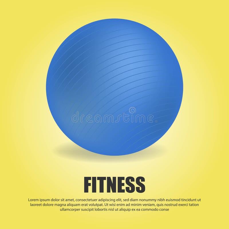 Boule bleue réaliste de la forme physique 3D d'isolement sur le fond jaune de gradient illustration libre de droits