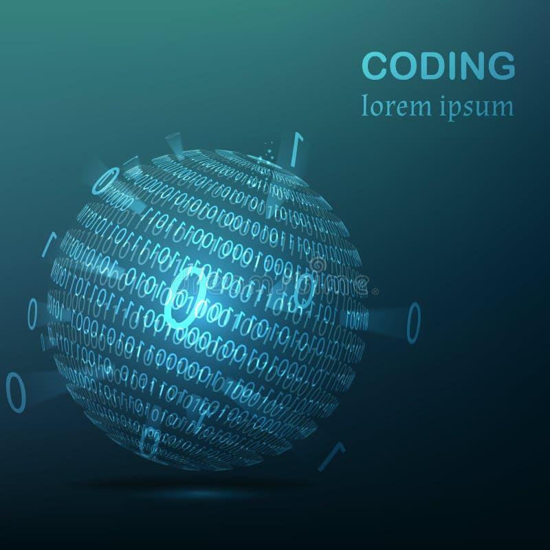 Boule bleue rougeoyante avec la binaire Vecteur illustration libre de droits