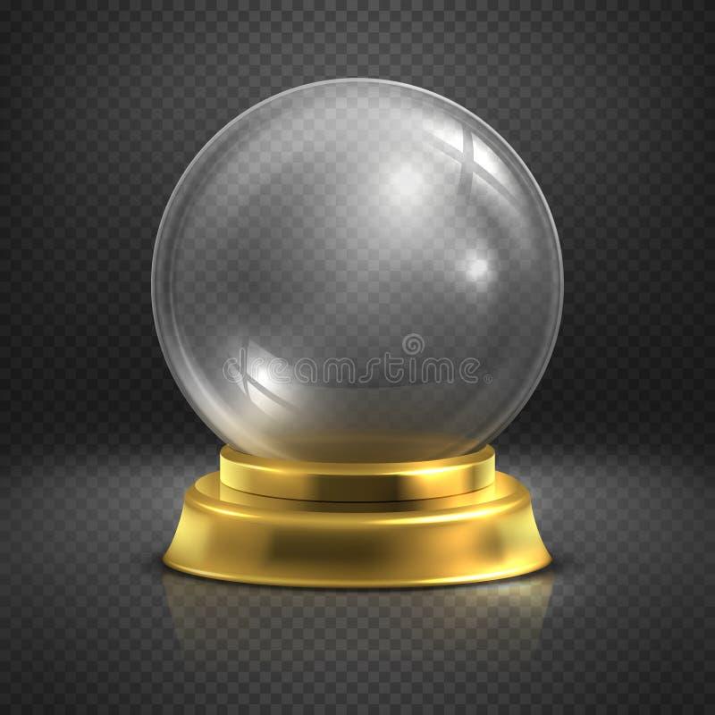 Boule, bola mágica vacía de cristal, ejemplo del vector del globo de la nieve stock de ilustración