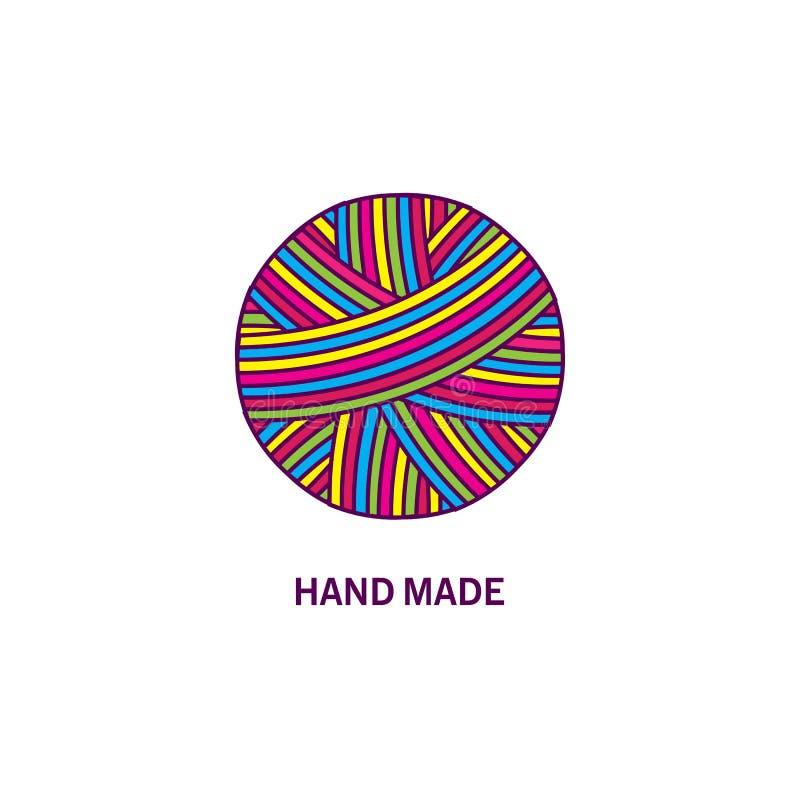 Boule colorée de fil Création de logo et fabriqué à la main illustration de vecteur