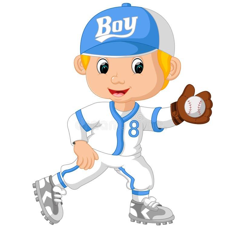 Boule contagieuse de joueur de baseball illustration stock