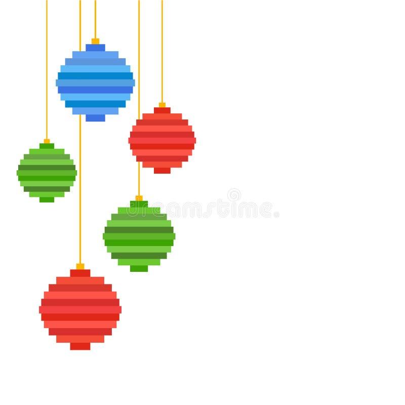 Boule d'arbre de Noël d'art de pixel du vecteur cinq Conception plate illustration de vecteur