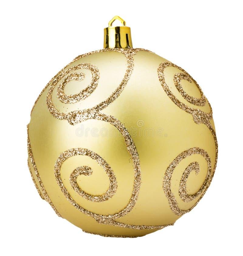 Boule d'or d'arbre de Noël d'isolement sur le fond blanc image stock