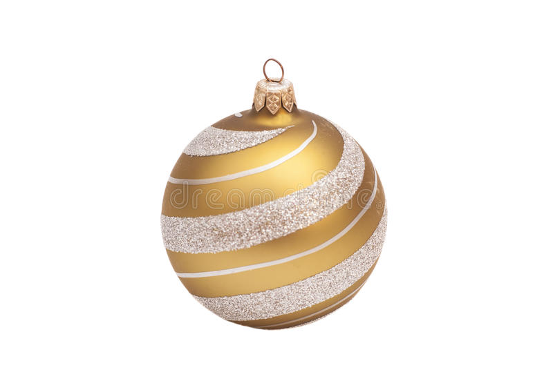 Boule d'or de Noël avec le scintillement photo stock