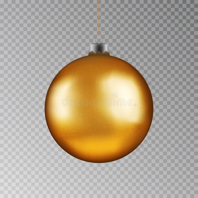 Boule d'or de Noël remettant sur la ficelle Babiole de vecteur de Noël d'isolement sur le fond transparent Le nouveau YE illustration de vecteur