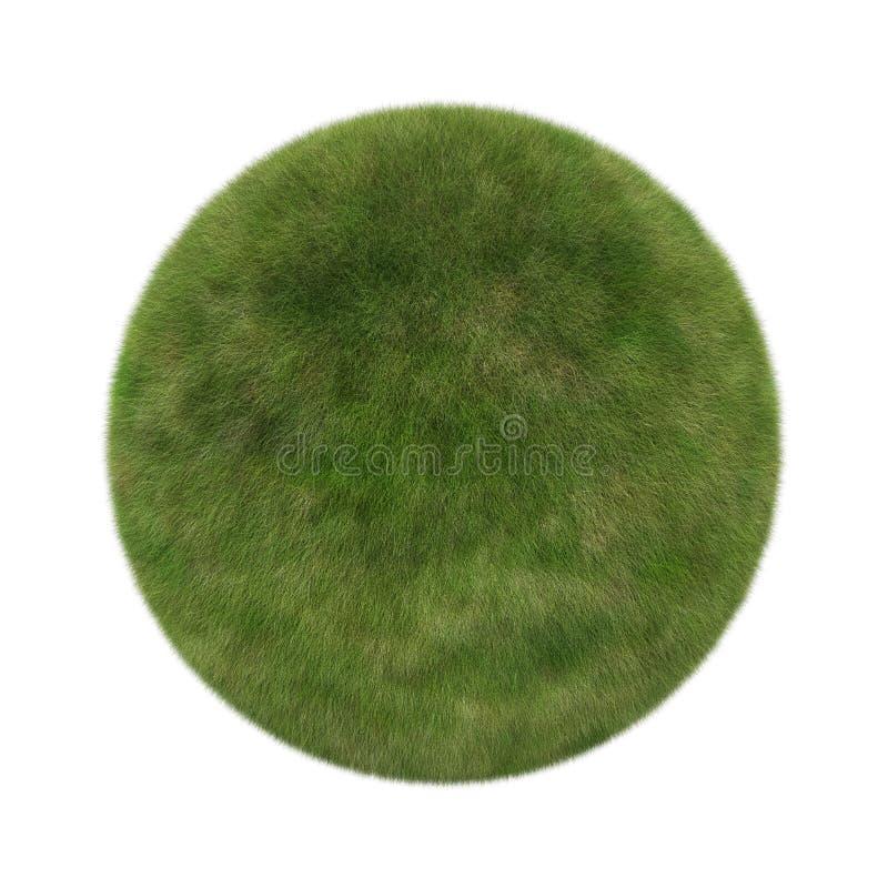 Boule d'herbe verte dans la forme de sphère d'isolement sur le fond blanc illustration de vecteur