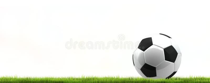 Boule d'isolement du football du football d'herbe verte rendu 3d illustration stock