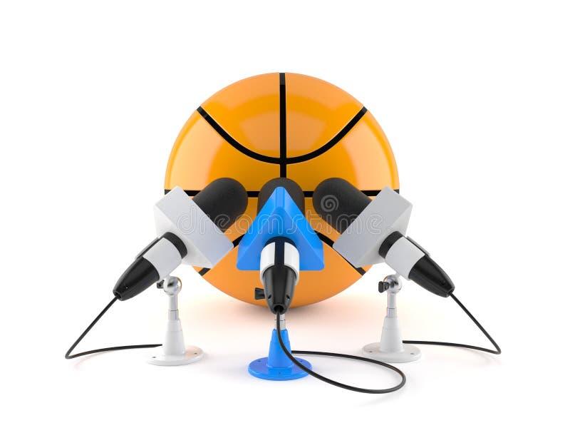 Boule de basket-ball avec des microphones d'entrevue illustration libre de droits